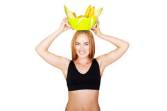 Diet. Dieting concept. Healthy Food. Beautiful Young Woman Stock Image