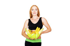 Diet. Dieting concept. Healthy Food. Beautiful Young Woman Stock Photo
