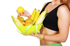 Diet. Dieting concept. Healthy Food. Beautiful Young Woman Stock Photos