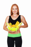 Diet. Dieting concept. Healthy Food. Beautiful Young Woman stock images