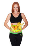 Diet. Dieting concept. Healthy Food. Beautiful Young Woman Royalty Free Stock Photo