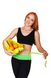 Diet. Dieting concept. Healthy Food. Beautiful Young Woman Royalty Free Stock Images