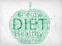 Diet. And ing related words written in watercolor on paper in a green apple shape Stock Images