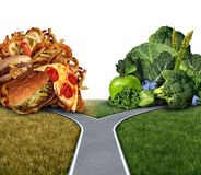 Diet Dilemma. Decision concept and nutrition choices between healthy good fresh fruit and vegetables or greasy cholesterol rich fast food at a crossroad trying stock illustration