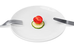 Diet eating plate Royalty Free Stock Image