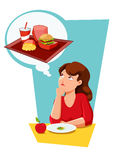 Diet eating temptation. Awoman  on a diet eating  apple and salad  with a temptation for a junk food Stock Image