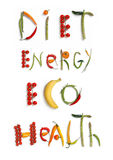 Diet, energy, eco, health. Studio photography of food words - on white background Stock Photography