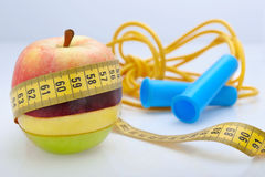 Diet & exercise. Nutrition and exercising healthy living Stock Photo