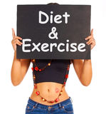 Diet And Exercise Sign Shows Weight Loss Advice Stock Photos