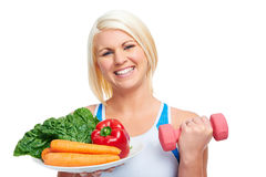 Diet and exercise. Woman healthy lifestyle concept Royalty Free Stock Photo