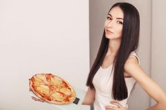 Diet And Fast Food Concept. Overweight Woman Standing On Weighing Scale Holding Pizza. Unhealthy Junk Food. Dieting, Lifestyle. We Royalty Free Stock Photos