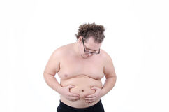 Diet and fat guy. Big man on a diet trying to lose weight. Stress and willpower. The problem - overweight Stock Photos