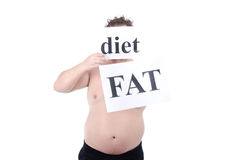 Diet and fat guy. Funny fat guy. Fitness and healthy lifestyle. White background stock photos