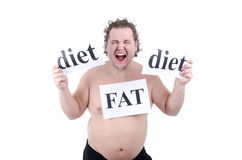 Diet and fat guy. Funny fat guy. Fitness and healthy lifestyle. White background stock images