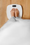 Diet. Female Feet On Weighing Scale. Weight Loss. Healthy Lifest Stock Image