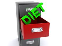 Diet in filing cabinet Royalty Free Stock Image