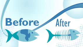 Diet Fish. On a diet sign with funny before and after fish illustration Royalty Free Stock Photos