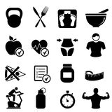 Diet, fitness and healthy living. Icon set Royalty Free Stock Photography