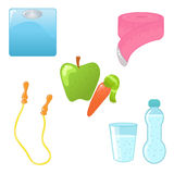 Diet and fitness icons. Cute glossy icons of healthy life, fitness and dieting Royalty Free Stock Photography