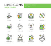 Diet and fitness - line design icons set. Set of modern vector line design icons and pictograms of diet, fitness and healthy lifestyle elements. Weight scales Royalty Free Stock Photos