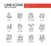 Diet and fitness - line design icons set. Set of modern vector plain line design icons and pictograms of diet, fitness and healthy lifestyle elements. Weight Stock Photos