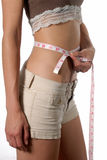 Diet and fitness pays off. Female waist being measured english measurement Stock Image