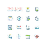 Diet and Fitness - Thin Single Line Icons Set Stock Photos