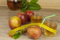 Diet food, apple juice, vegetables and fruits, concept diet, vitamin supplements Stock Images