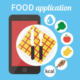 Diet food application. Calorie counter app. Calorie counter app. Mobile food app. Vector illustration Royalty Free Stock Images