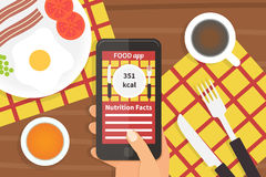 Diet food application. Calorie counter. Diet food application on smartphone. Calorie counter app. Vector illustration Stock Photos
