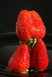 Diet, Food and balance. Photograph of three beautiful strawberries with waterdrops on a black plate / background. The strawberries are in a perfect balance Stock Photos