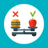 Diet food balance, healthy vector concept with apple and hamburger on scales Royalty Free Stock Images