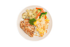 Diet food, Clean eating, Chicken steak and omelet with vegetable Royalty Free Stock Photography