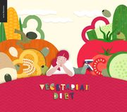 Diet food composition. Vegetarian food diet- flat vector concept illustration, composition of healthy vegetable diet, young ginger girl lying on hill, sunny sky Stock Photography