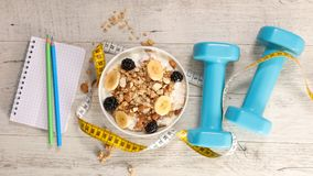 Diet food concept. Fitness breakfast concept, diet food concept Stock Photos