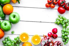 Diet food with fresh fruits and vegetables salad white backgroun Royalty Free Stock Images