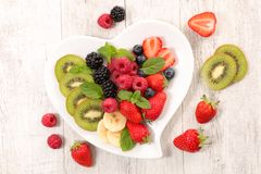 Diet food fruit concept. Top view royalty free stock image