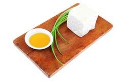 Diet food : greek feta white cheese Royalty Free Stock Photos
