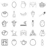Diet food icons set, outline style. Diet food icons set. Outline set of 25 diet food vector icons for web isolated on white background Royalty Free Stock Photography