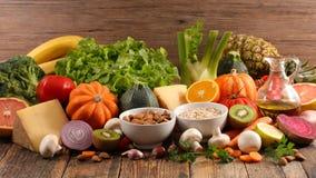 Diet food ingredient. On wood stock image
