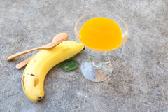 Diet food, orange juice and banana Stock Photography