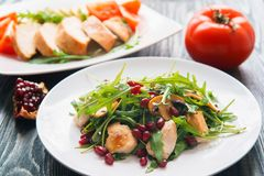 Diet food, proteins, healthy low-calorie meals concept. Chicken. Salad with pomegranate seeds and arugula and baked chicken breasts with zucchini and tomato Stock Images