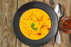 Diet food.Pumpkin puree with saffron Stock Photos