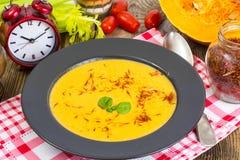 Diet food.Pumpkin puree with saffron Stock Photo