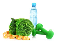 Diet - food, water, dimbbells... Stock Image