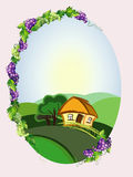 Diet frame with grapes and landscape royalty free illustration