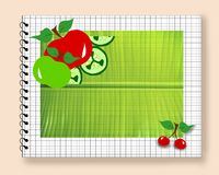 Diet fruit notepad leaf Royalty Free Stock Photography