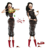 Diet. A girl can not resist the temptation stock illustration