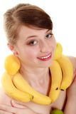Diet. Girl with fruit necklace and earrings Stock Photography