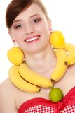 Diet. Girl with fruit necklace and earrings Stock Images
